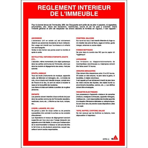 consigne r 232 glement int 233 rieur immeuble stocksignes