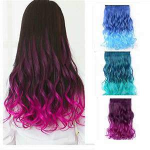Gradient Color Women Straight Curly Full Head Clip in Synthetic Hair Extensions Alex NLD