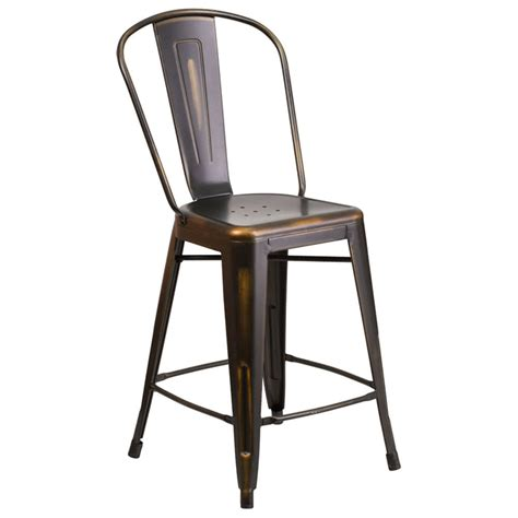 distressed copper metal counter height stool with vertical