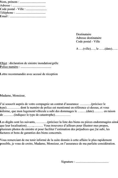 modele lettre declaration sinistre secheresse modele lettre sinistre assurance document