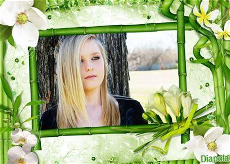 cadre photo montage en ligne gratuit montage photo cadre bambou et fleurs avec diapola