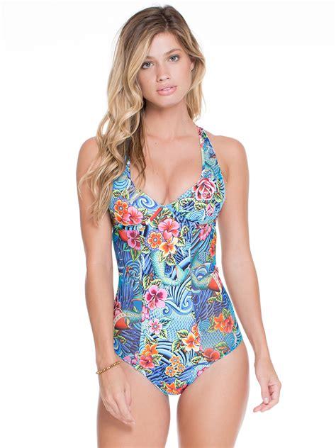 Luli Fama Blue Floral Racerback One-piece Swimsuit - Venus