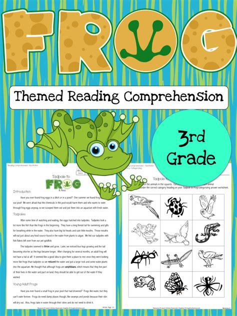 frog reading comprehension passages activities