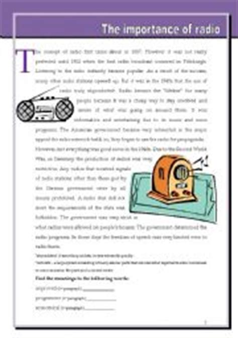 English Worksheet The Importance Of Radio