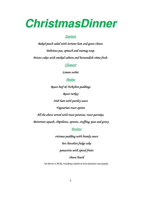 numero seis christmas day menu