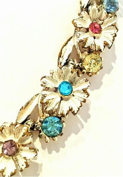 Trifari Flower Gold Earrings Necklace Enamel 20th