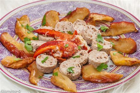 cuisine homard boudin blanc et homard aux pommes kilometre 0 fr
