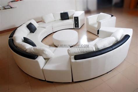 canapé rond convertible canapé d 39 angle en cuir italien en rond design et pas cher