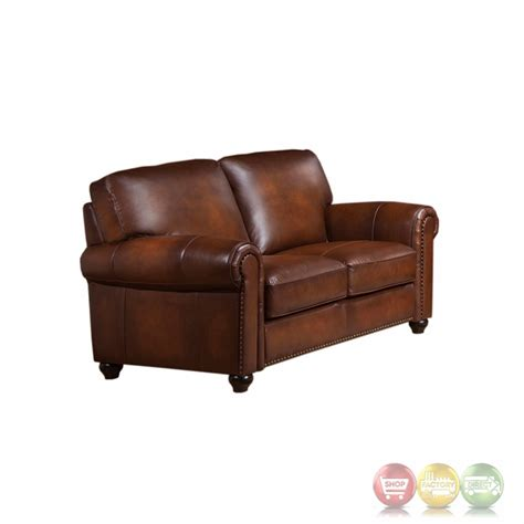 Leather Loveseat With Nailhead Trim by Royale Olive Brown Genuine Leather Loveseat With Nailhead Trim