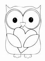 Owl Coloring Pages Owls Printable Cute Pattern Google Cartoons Valentines sketch template