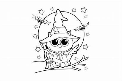 Coloring Halloween Pages Pdf Printable Witch Owl