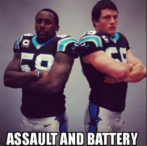 Luke Kuechly Meme - assault battery hahahaha true my team pinterest