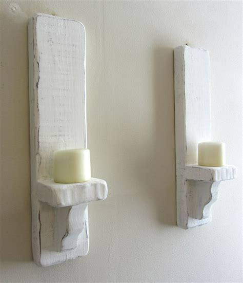 White Candle Sconces - pair of 50cm distressed white solid wood shabby chic wall