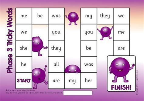 phases   tricky words board game sb sparklebox
