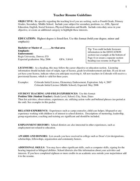 Resume Objective For Position by Resume Objective For Teaching Position Best Letter Sle