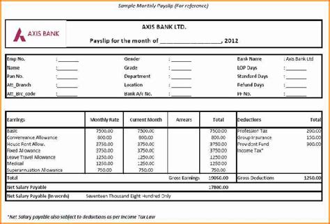 salary slip format  excel simple salary slip