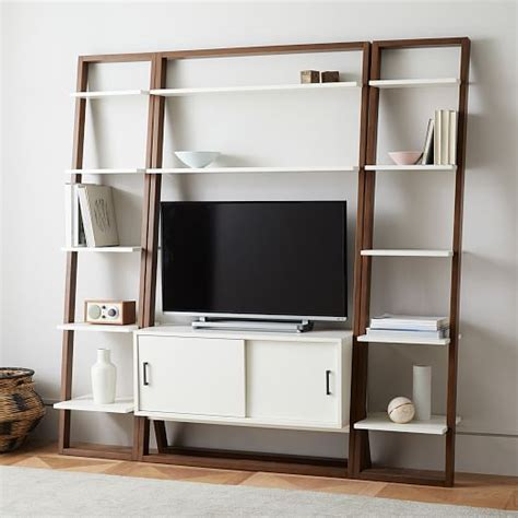 media console with bookcases ladder shelf media console shelves set narrow west elm