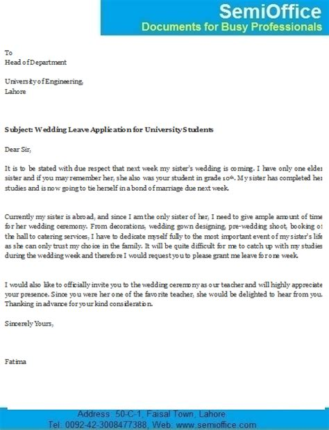 leave application  sisters marriage