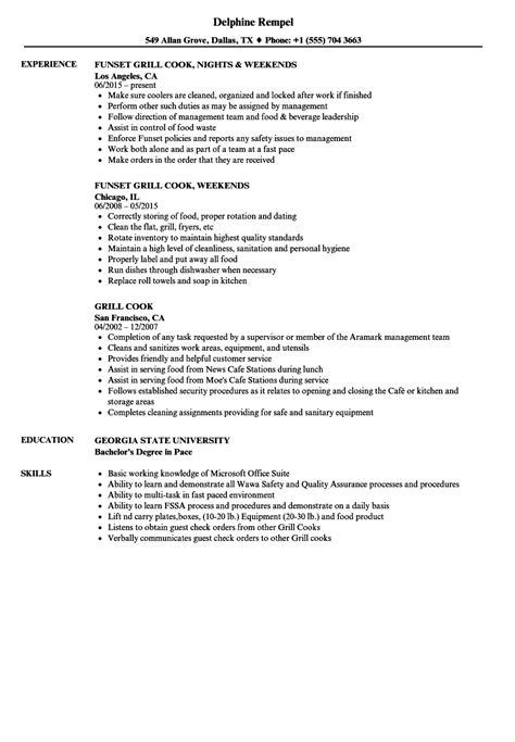 grill cook resume samples velvet jobs