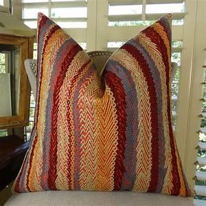 Thomas, Collection, Red, Blue, Orange, Stripe, Embroidered, Throw, Pillow, -, 11035