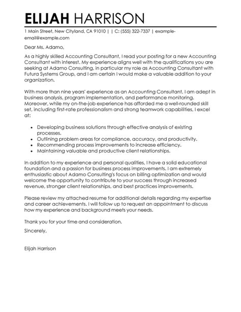 consultant cover letter examples livecareer