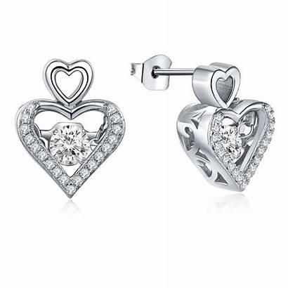 Earrings Dancing Diamond Stud Heart Pendant Jewelry