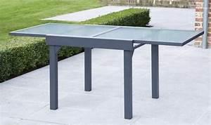 Table Carre Exterieur : salon de jardin modulo gris 4 personnes table extensible ~ Teatrodelosmanantiales.com Idées de Décoration