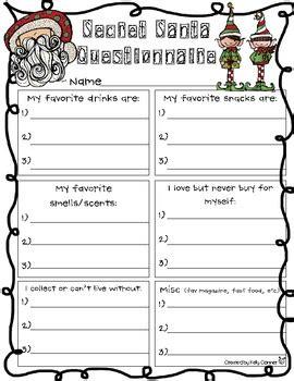 secret santa questionnaire secret santa questionnaire kelly conner teacherspayteachers com