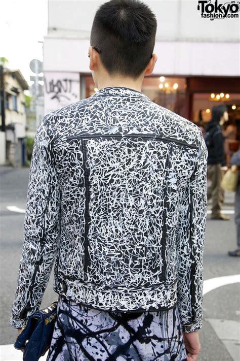 harajuku guy  hand painted leather motorcycle jacket