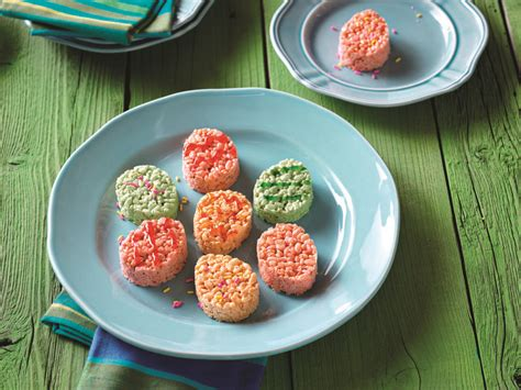From craft felt, cut out small black and white circles for the eyes and pink petal shapes in two sizes for the bunny's ears. JELL-O Easter RICE KRISPIES® TREATS™ | Recipe in 2020 ...