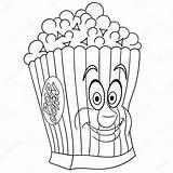 Coloring Colouring Popcorn Vector Premium Sybirko sketch template