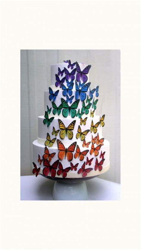 edible butterflies wedding cake topper rainbow edible