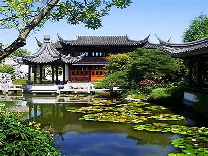 Chinese Garden Desktop Wallpapers Landscape Asian Pagoda
