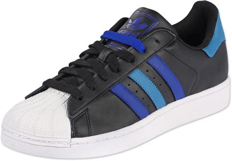 Adidas Superstar II shoes black turquoise blue