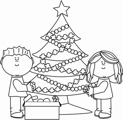 Christmas Tree Decorating Clip Clipart Coloring Pages