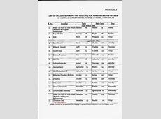 List of Holidays 2015 for Central Government Offices