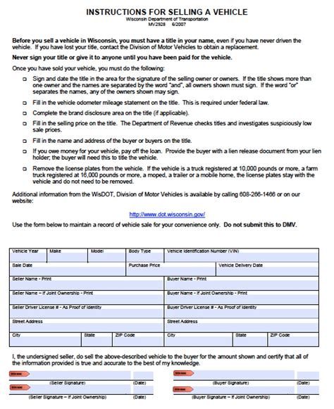 Can You Register A Boat With A Bill Of Sale In Florida by Free Wisconsin Dmv Vehicle Bill Of Sale Form Pdf