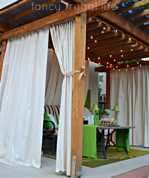 Outdoor Curtains With Grommets by Cabana Patio Makeover With Diy Drop Cloth Curtains