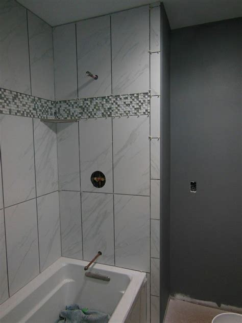 marble  tile tub surround large shower tile