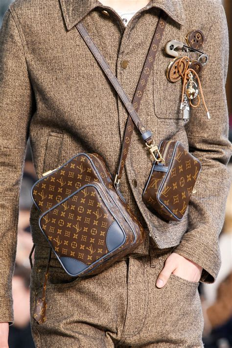 louis vuitton mens fall winter  runway bags featuring damier graphite nemeth print