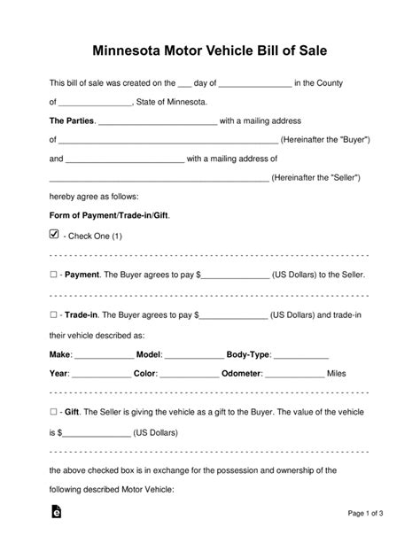 Minnesota Boat Title Transfer by Free Minnesota Bill Of Sale Forms Word Pdf Eforms