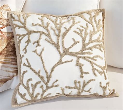 coral outdoor pillow branch coral embroidered indoor outdoor pillow pottery barn