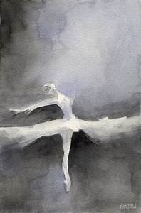 Ballet Dancer In White Tutu Watercolor Paintings Of Dance ...