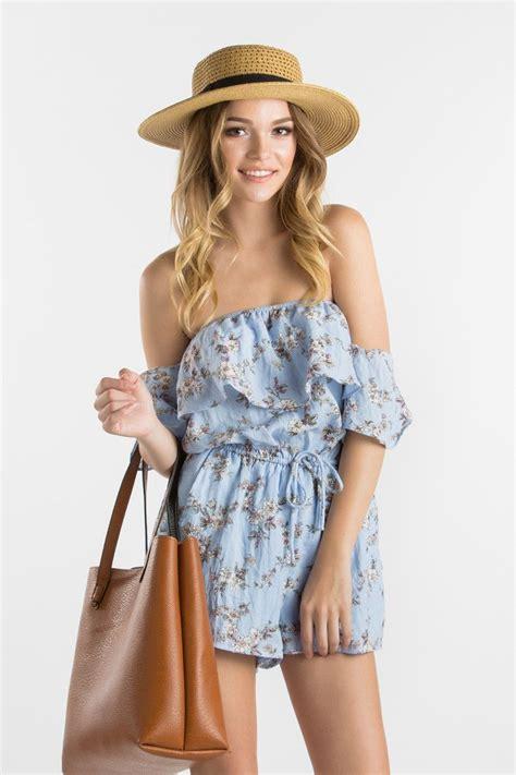 blue floral   shoulder romper spring outfits