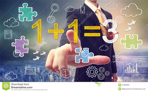 Synergy Concept 1+1=3 Stock Illustration. Illustration Of