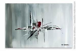 Tableau Moderne Salon : tableau gris abstrait matin d 39 hiver ~ Teatrodelosmanantiales.com Idées de Décoration