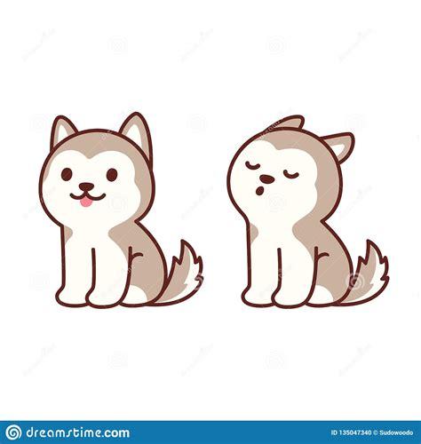 cute husky puppy howling stock vector illustration