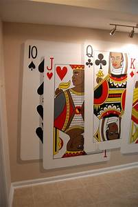 poker themed mural hand painted in a game room in clinton With kitchen cabinets lowes with king of hearts wall art