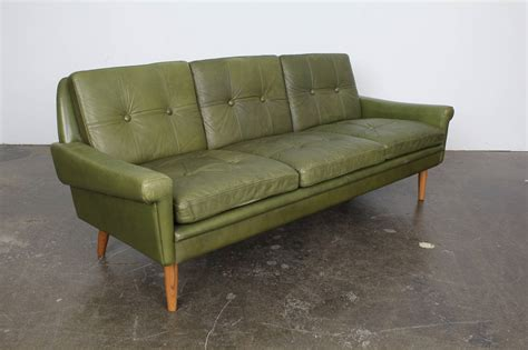 mid century modern green leather sofa by skippers mobler