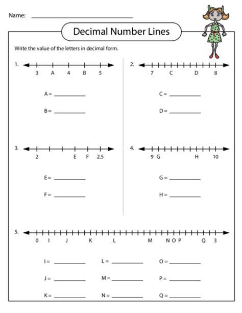 fractions and decimals on a number line worksheet